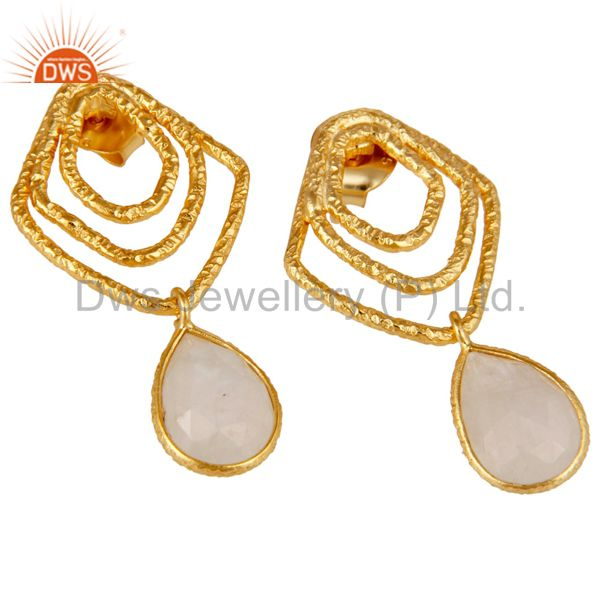Exporter Rainbow Moonstone New Fashion Earrings With 18k Gold Plated 925 Sterling Silver