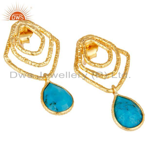 Exporter Turquoise Zig Zag Fashion Drop Earrings With 18k Gold Plated 925 Sterling Silver