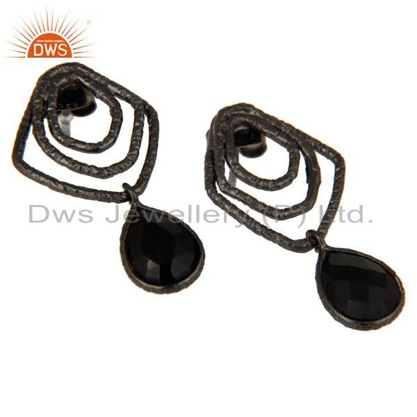Exporter Black Onyx Zig Zag Fashion Drop Earrings With Black Oxidized 925 Sterling Silver