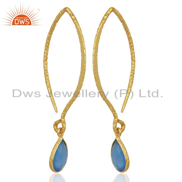 Exporter Handmade Blue Chalcedony Gemstone Fashion Earrings Jewelry Supplier
