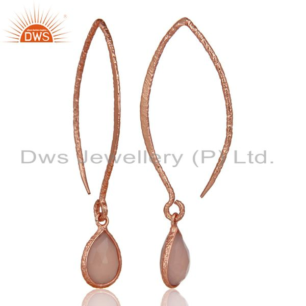 Exporter 18k Rose Gold Plated 925 Silver Bazel Set Hoop In Hook Chalcedony Drop Earrings