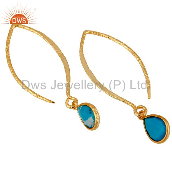 Exporter 18k Gold Plated Sterling Silver Bazel Set Hoop In Hook Turquoise Drops Earrings