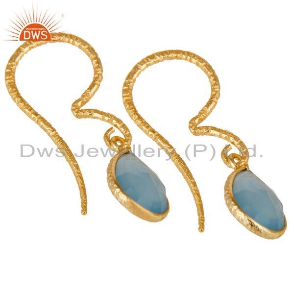 Exporter Dyed Chalcedony Bezel Set Drops Earrings With 18k Gold Plated Sterling Silver