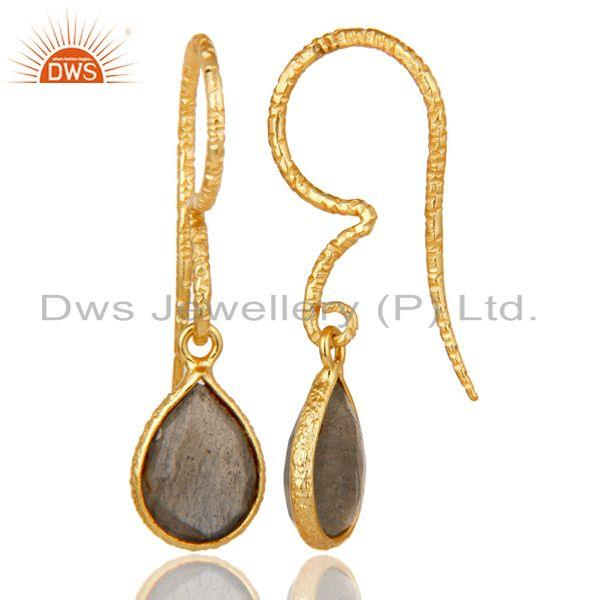 Exporter Fashion Design Labradorite Drops Earrings With 18k Gold Plated Sterling Silver