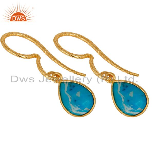 Exporter 18K Yellow Gold Plated 925 Sterling Silver Turquoise Gemsone Drops Earrings