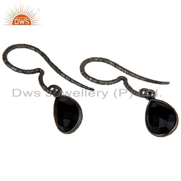 Exporter Fashion Design Black Onyx Drops Earrings With Black Oxidized Sterling Silver