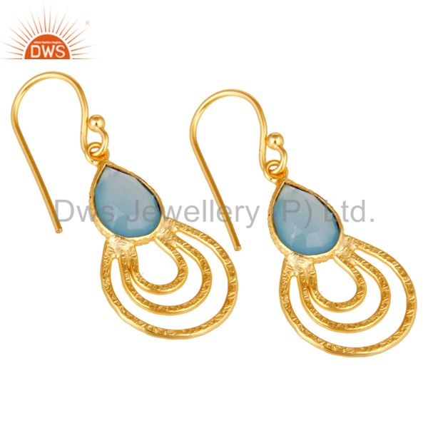 Exporter 22k Gold Plated Sterling Silver Classic Bazel Set Blue Chalcedony Drops Earrings