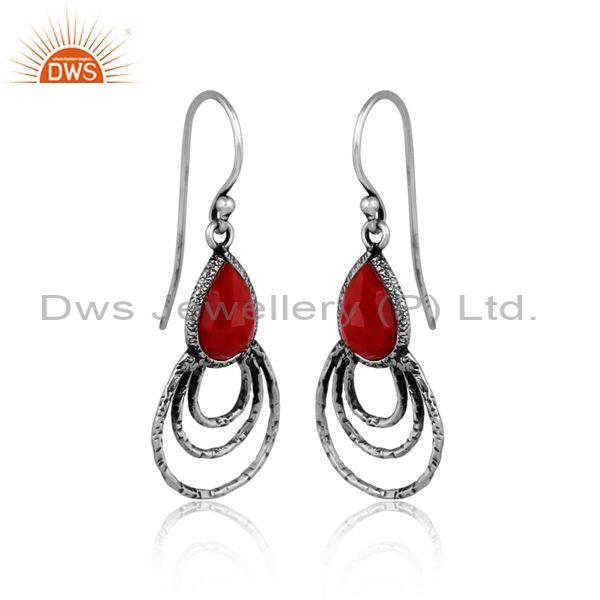 Coral set gold on 925 sterling silver handhammered earrings