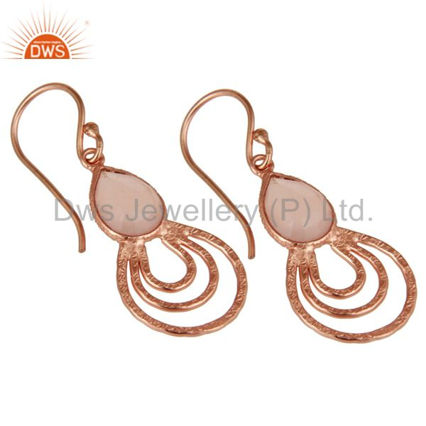 Exporter 18K Rose Gold Plated Sterling Silver Classic Bazel Set Chalcedony Drops Earrings