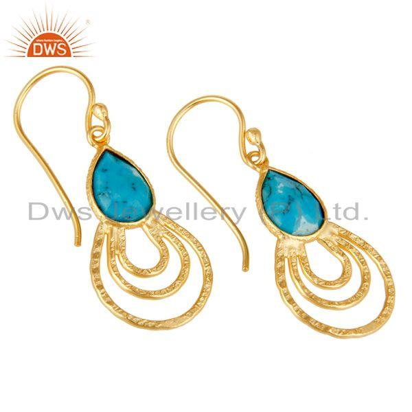 Exporter 22k Gold Plated 925 Sterling Silver Classic Bezel Set Turquoise Drops Earrings