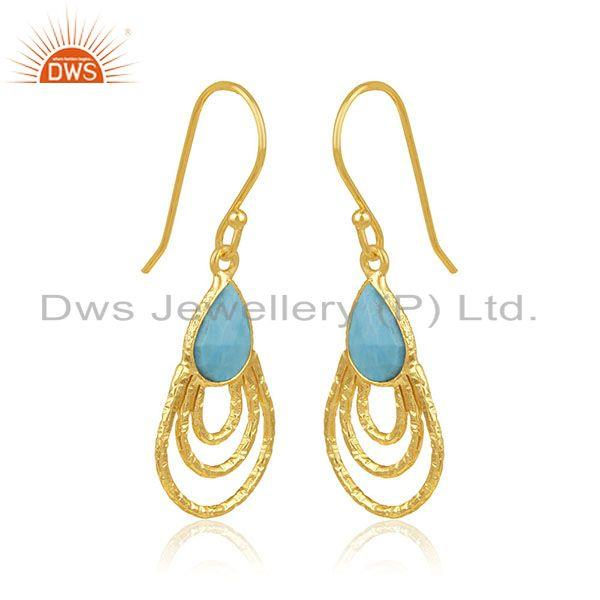 Exporter Handmade Sterling Silver Gold Plated Turquoise Gemstone Drop Earrings Wholesaler
