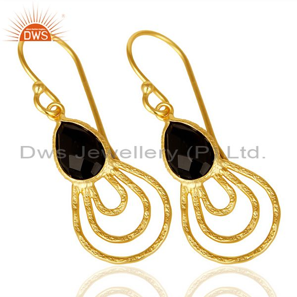 Exporter Black Onyx Hammered Drop Dangle 14K Gold Plated 92.5 Sterling Silver Earring