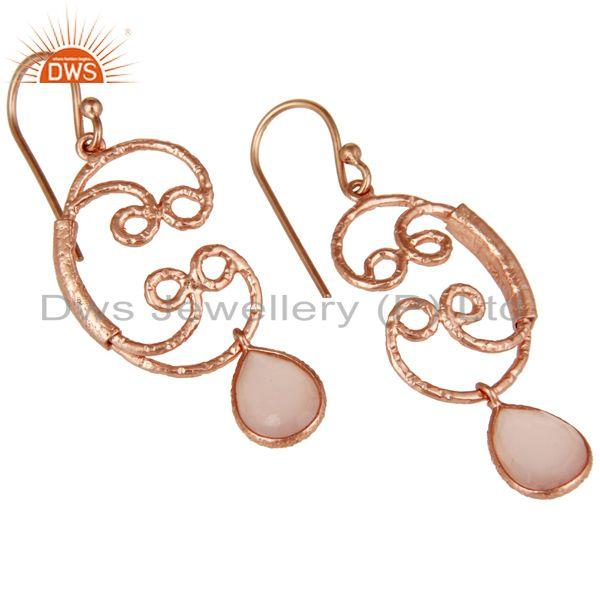 Exporter 18k Rose Gold Plated 925 Sterling Silver Bezel Set Dyed Chalcedony Drop Earrings