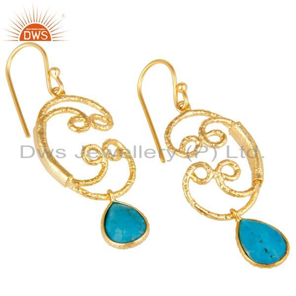 Exporter 22K Gold Plated 925 Sterling Silver Natural Turquoise Bezel Set Drops Earrings