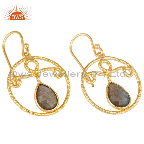Exporter 22k Yellow Gold Plated 925 Sterling Silver Bazel Set Labradorite Drops Earrings