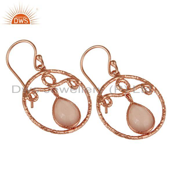 Exporter 18k Rose Gold Plated 925 Sterling Silver Bazel Set Labradorite Drops Earrings