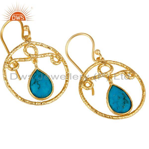 Exporter 22k Gold Plated 925 Sterling Silver Bezel Set Natural Turquoise Drops Earrings