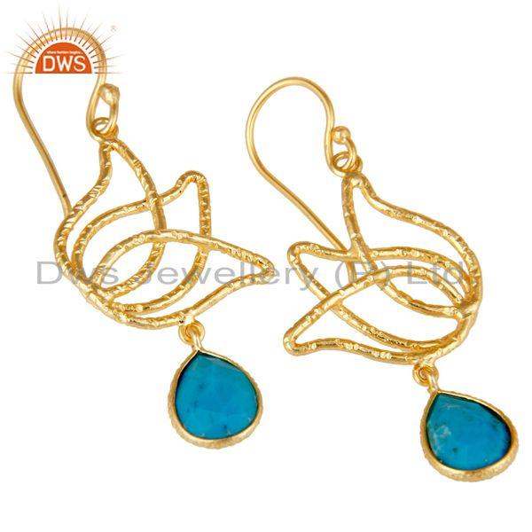 Exporter 18k Gold Plated 925 Sterling Silver Lotus Design Turquoise Drops Earrings
