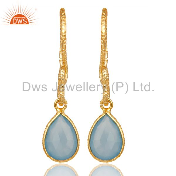 Exporter 22K Gold Plated Sterling Silver Bezel Set Dyed Blue Chalcedony Dangle Earrings