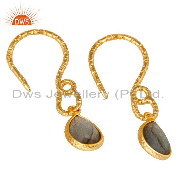 Exporter 22K Gold Plated Sterling Silver Bezel Set Natural Labradorite Dangle Earrings