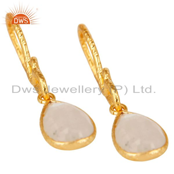 Exporter 22K Gold Plated Sterling Silver Bezel Set Rainbow Moonstone Dangle Earrings