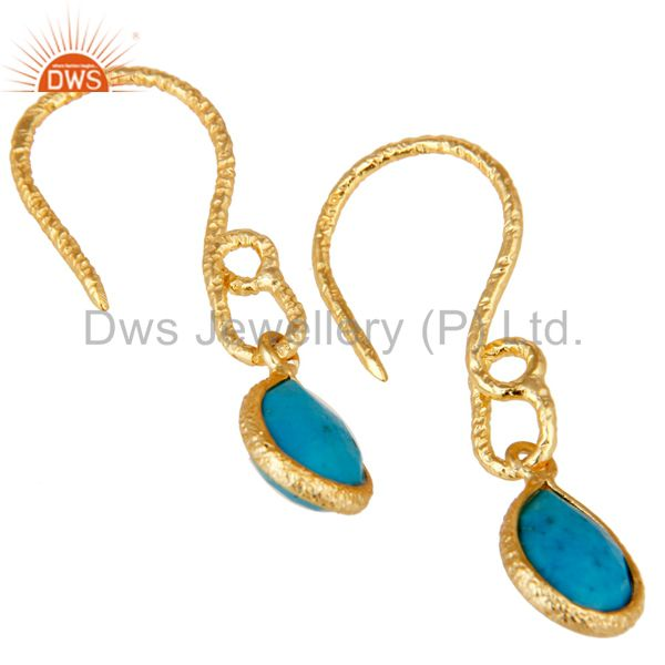 Exporter 22K Gold Plated 925 Sterling Silver Turquoise Gemstone Bezel Set Drops Earrings