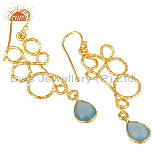 Exporter 22K Gold Plated 925 Sterling Silver Zig Zag Style Chalcedony Drops Earrings