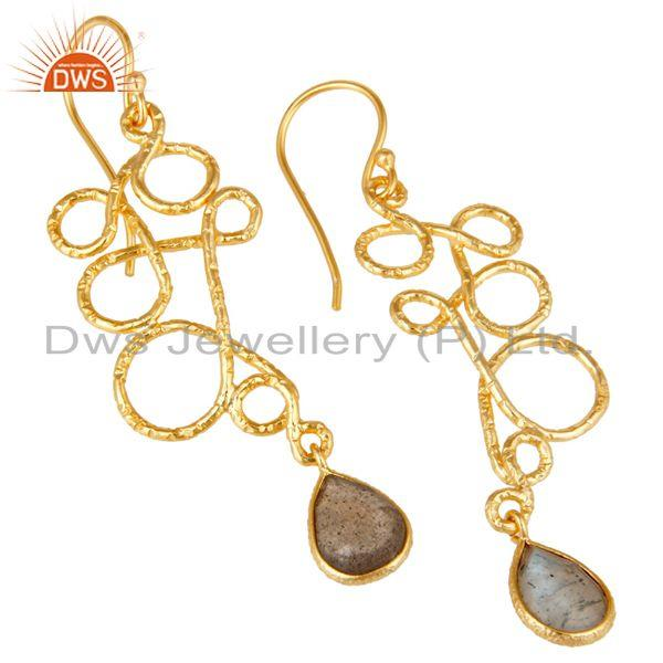 Exporter 22K Gold Plated 925 Sterling Silver Zig Zag Style Labradorite Drops Earrings