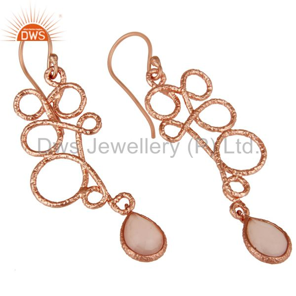 Exporter 18K Rose Gold Plated 925 Sterling Silver Zig Zag Style Chalcedony Drops Earrings