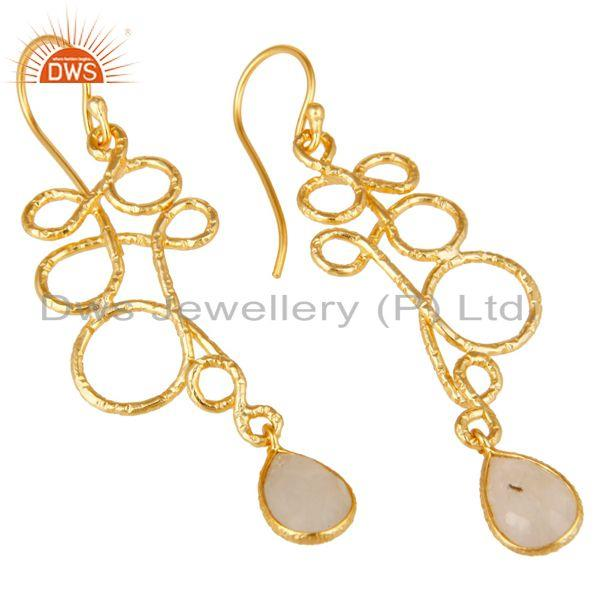 Exporter 18K Gold Plated 925 Sterling Silver Zig Zag Style Moonstone Drops Earrings