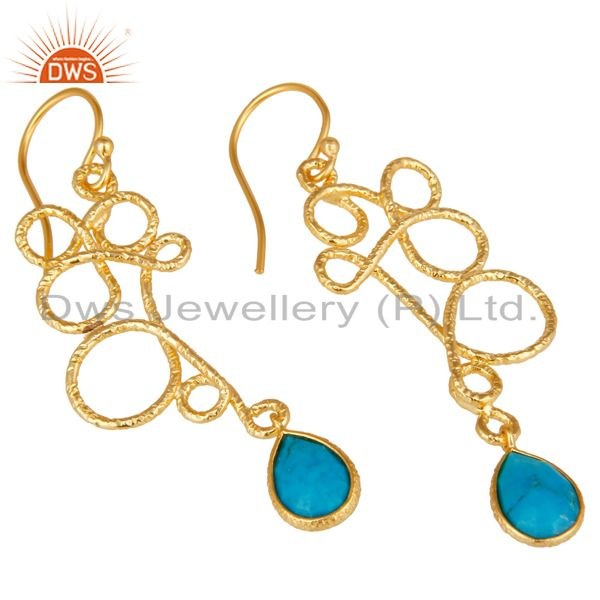 Exporter 18K Gold Plated 925 Sterling Silver Zig Zag Style Turquoise Drops Earrings