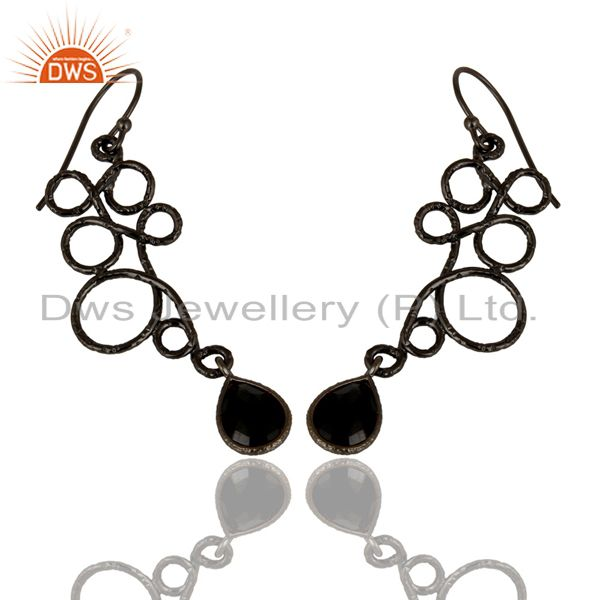 Exporter Black Oxidized 925 Sterling Silver Zig Zag Style Black Onyx Drops Earrings