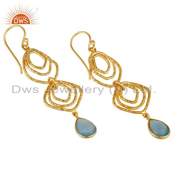 Exporter Blue Chalcedony Asymmetrical Dangle 14K Gold Plated 92.5 Sterling Silver Earring