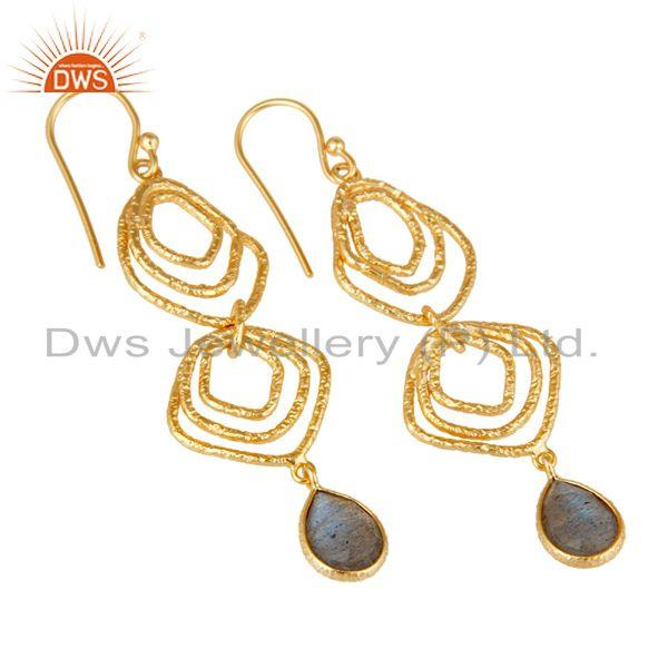 Exporter Labrodorite Asymmetrical Dangle 14K Gold Plated 92.5 Sterling Silver Earring