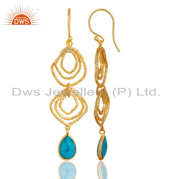 Exporter Turquoise Asymmetrical Dangle 14K Gold Plated 92.5 Sterling Silver Earring