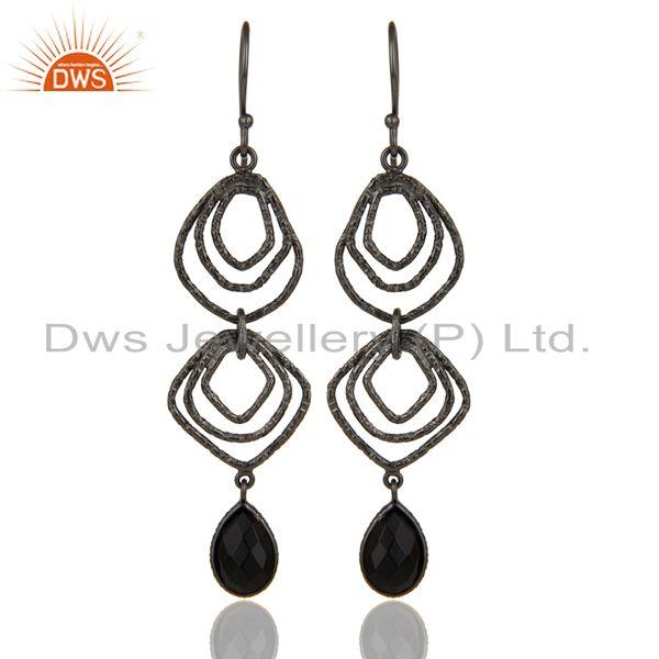 Exporter Black Onyx Asymmetrical Dangle Oxodized 92.5 Sterling Silver Earring