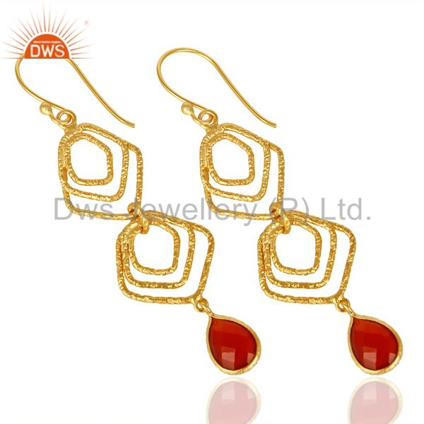 Exporter Red Onyx Asymmetrical Dangle 14K Gold Plated 92.5 Sterling Silver Earring