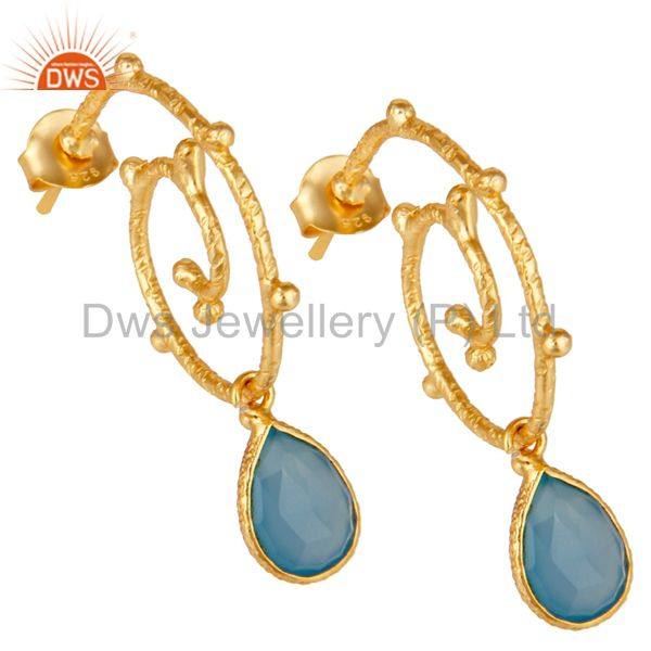 Exporter 18k Gold Plated Sterling Silver Dyed Chalcedony Wedding Style Bezel Set Earrings