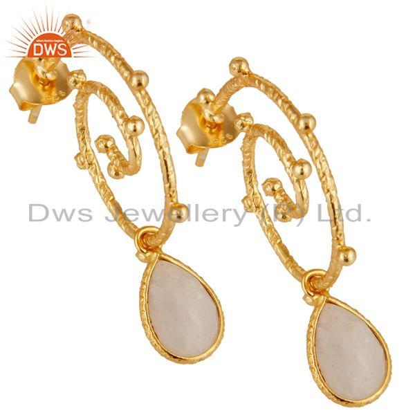 Exporter 18k Gold Plated 925 Sterling Silver Moonstone Wedding Style Bezel Set Earrings