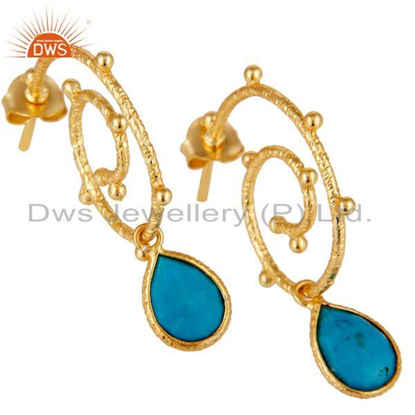 Exporter 18k Gold Plated 925 Sterling Silver Turquoise Wedding Style Bezel Set Earrings