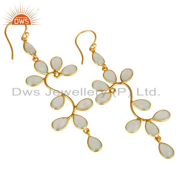 Exporter 18K Yellow Gold Plated 925 Sterling Silver Dyed Chalcedony Dangle Earrings