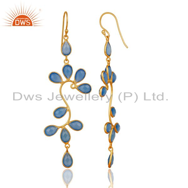 Exporter 18K Yellow Gold Plated 925 Sterling Silver Blue Chalcedony Dangle Earrings