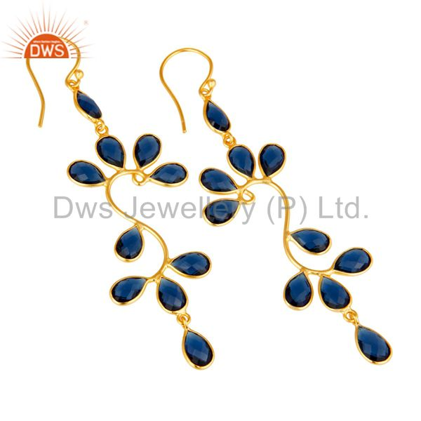 Exporter 18K Yellow Gold Plated 925 Sterling Silver Blue Corrundum Dangle Earrings