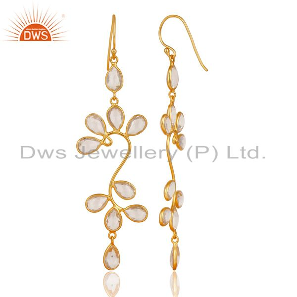 Exporter 18K Yellow Gold Plated 925 Sterling Silver Crystal Quartz Dangle Earrings
