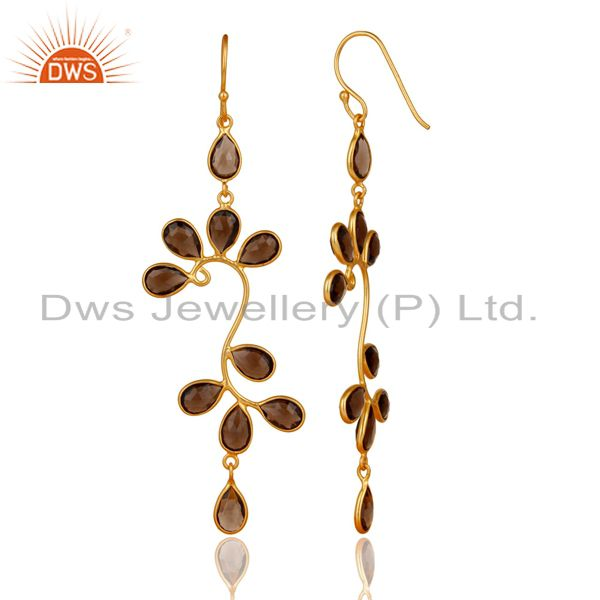Exporter 14K Yellow Gold Plated 925 Sterling Silver Smokey Topaz Gemstone Dangle Earrings