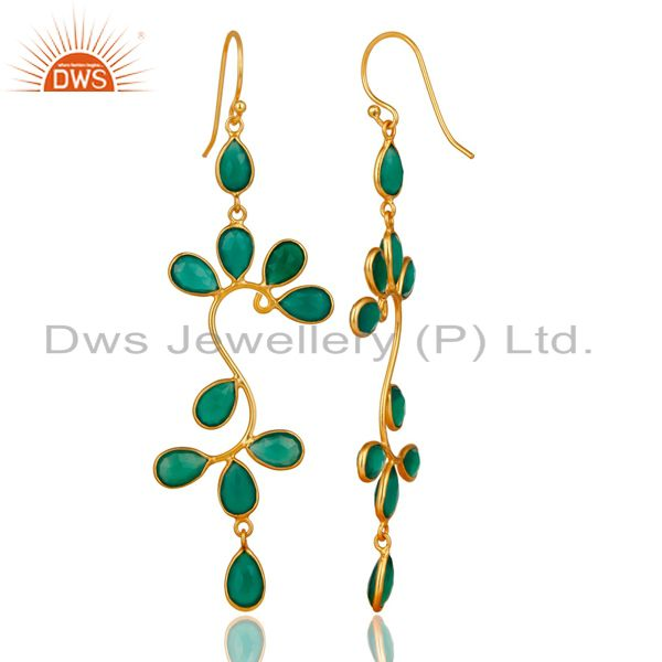 Exporter 18K Yellow Gold Plated 925 Sterling Silver Green Onyx Gemstone Dangle Earrings