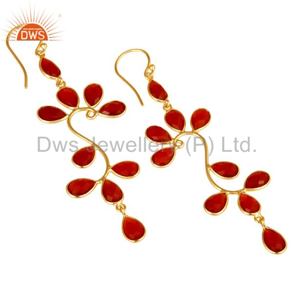 Exporter 18K Yellow Gold Plated 925 Sterling Silver Red Onyx Gemstone Dangle Earrings