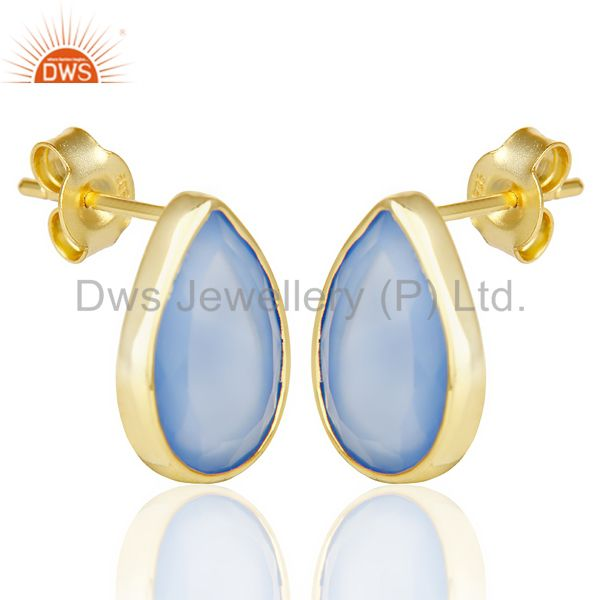 Exporter Blue Chalcedony Pear Shape Flat Back Gold Plated Stud Earring In Silver