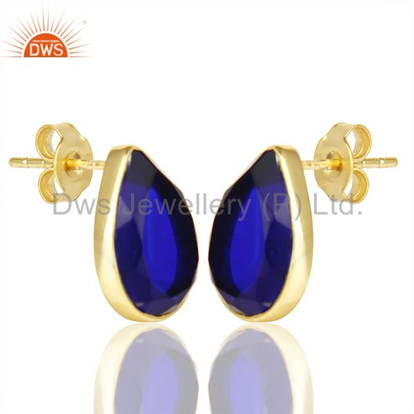 Exporter Blue Corundum Pear Shape Flat Back Stud 14K Gold Plated 92.5 Silver Earring