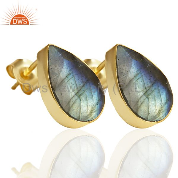 Exporter Natural Labrodorite Pear Shape Flat Back Gold Plated Stud Earring In Silver